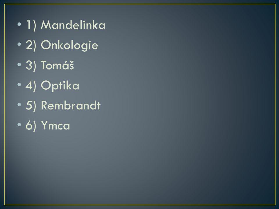 1) Mandelinka 2) Onkologie 3) Tomáš 4) Optika 5) Rembrandt 6) Ymca