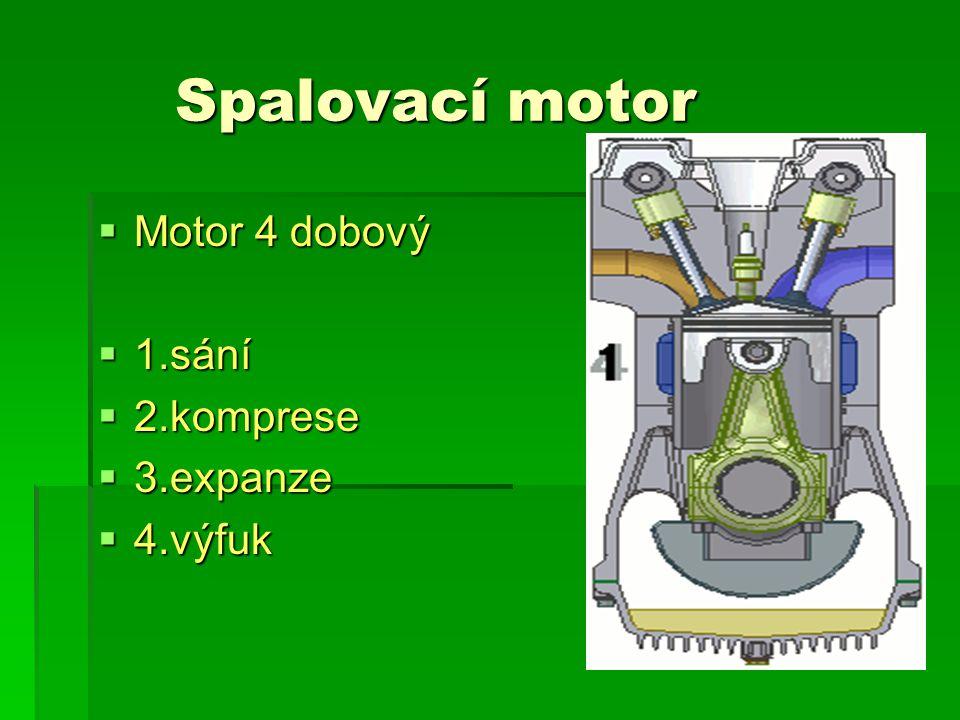 Spalovací motor  Motor 4 dobový  1.sání  2.komprese  3.expanze  4.výfuk
