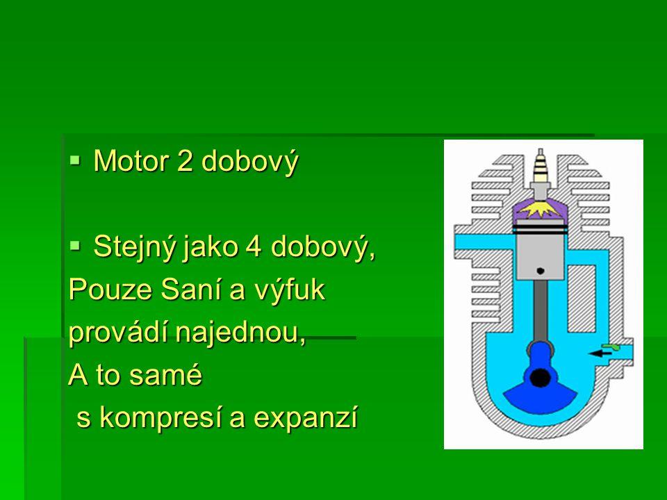 Motor 2 dobový  Stejný jako 4 dobový, Pouze Saní a výfuk provádí najednou, A to samé s kompresí a expanzí s kompresí a expanzí