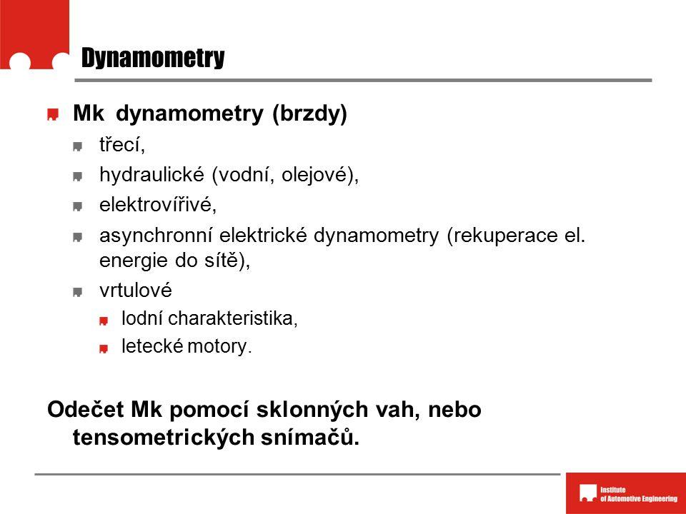 Dynamometry Mkdynamometry (brzdy) třecí, hydraulické (vodní, olejové), elektrovířivé, asynchronní elektrické dynamometry (rekuperace el. energie do sí