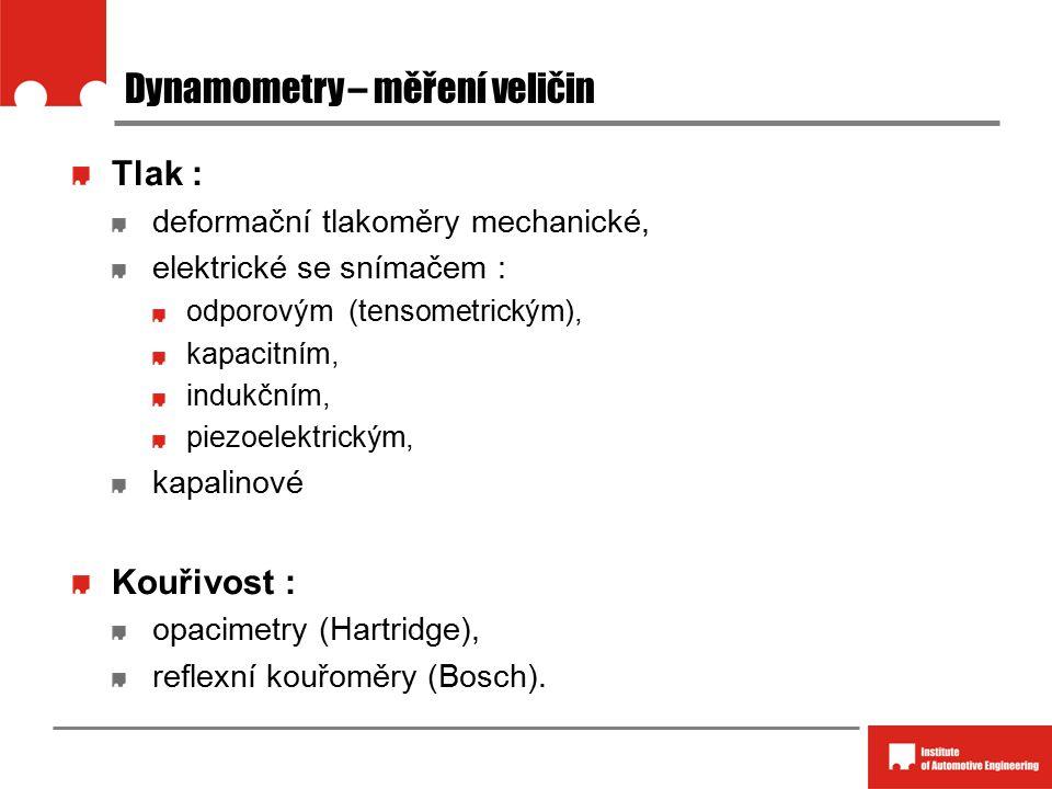 Dynamometry – měření veličin Tlak : deformační tlakoměry mechanické, elektrické se snímačem : odporovým (tensometrickým), kapacitním, indukčním, piezoelektrickým, kapalinové Kouřivost : opacimetry (Hartridge), reflexní kouřoměry (Bosch).