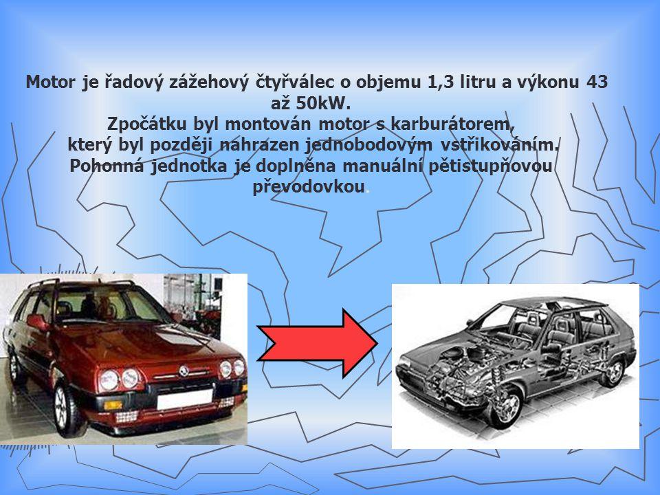 Motor je řadový zážehový čtyřválec o objemu 1,3 litru a výkonu 43 až 50kW.