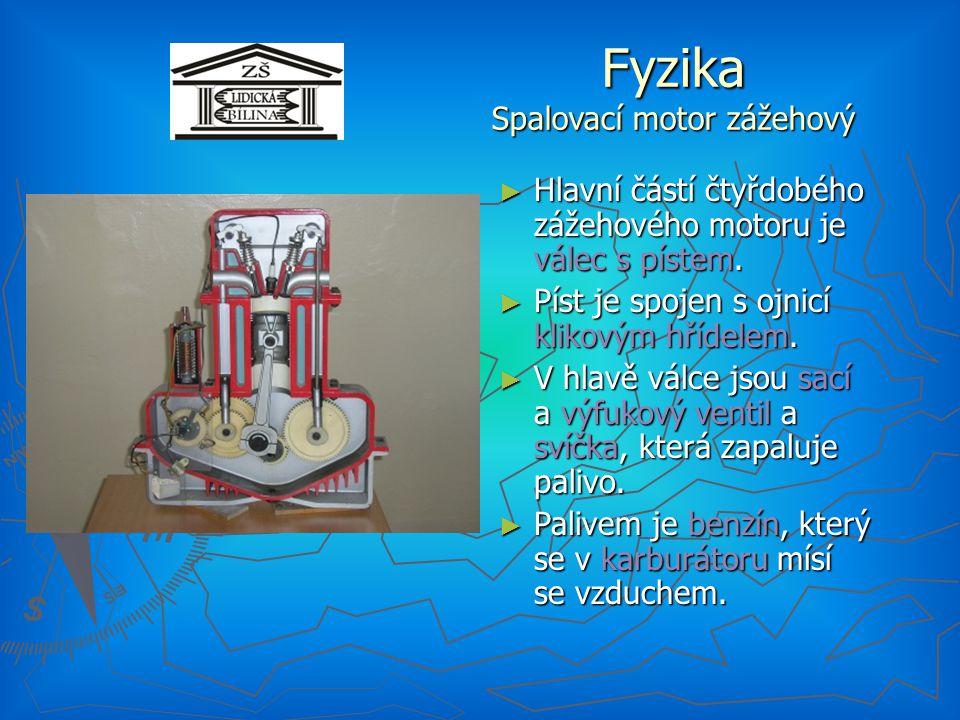 Fyzika Spalovací motor zážehový ► Hlavní částí čtyřdobého zážehového motoru je válec s pístem.