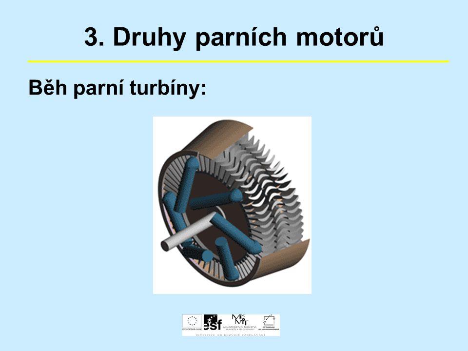 3. Druhy parních motorů Běh parní turbíny:
