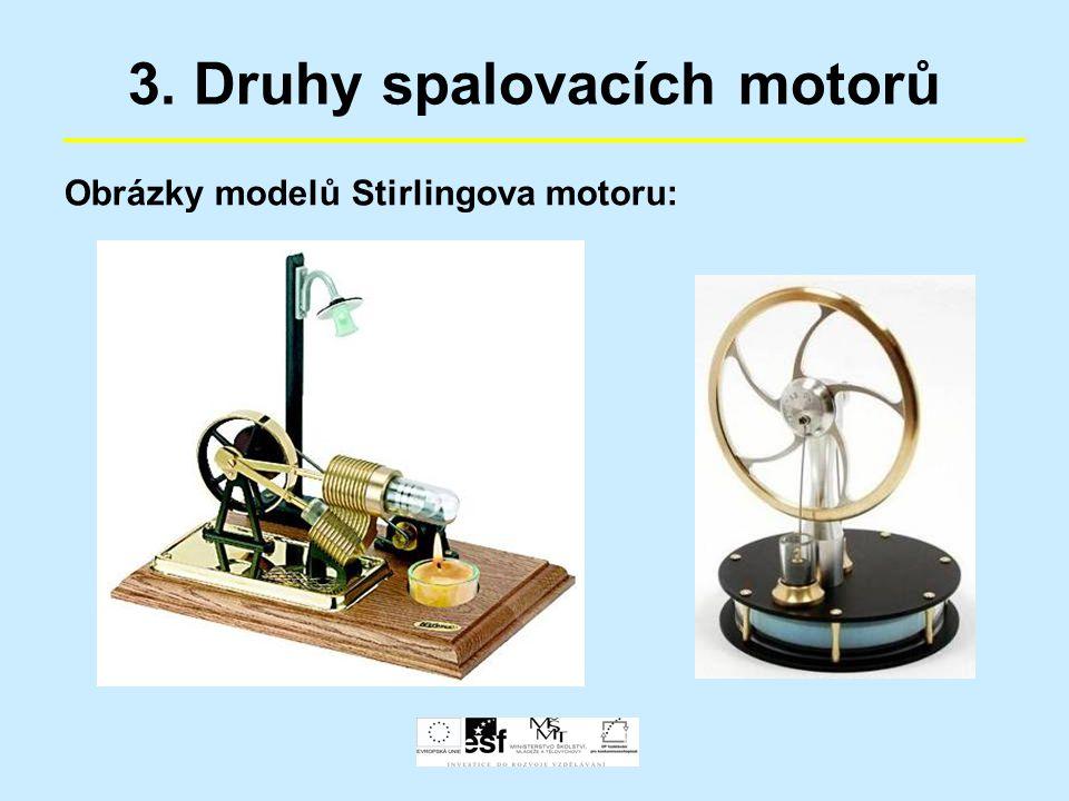 3. Druhy spalovacích motorů Obrázky modelů Stirlingova motoru: