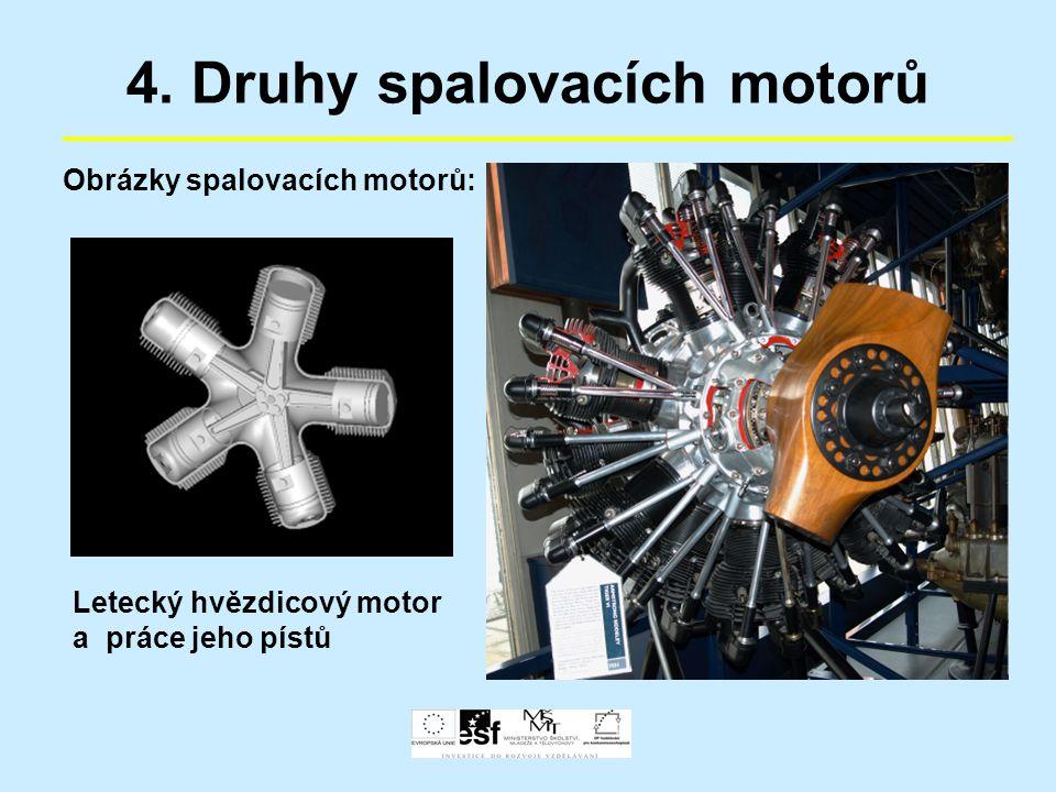 4. Druhy spalovacích motorů Obrázky spalovacích motorů: Letecký hvězdicový motor a práce jeho pístů