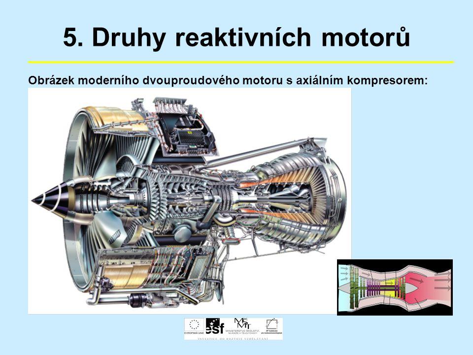 5. Druhy reaktivních motorů Obrázek moderního dvouproudového motoru s axiálním kompresorem: