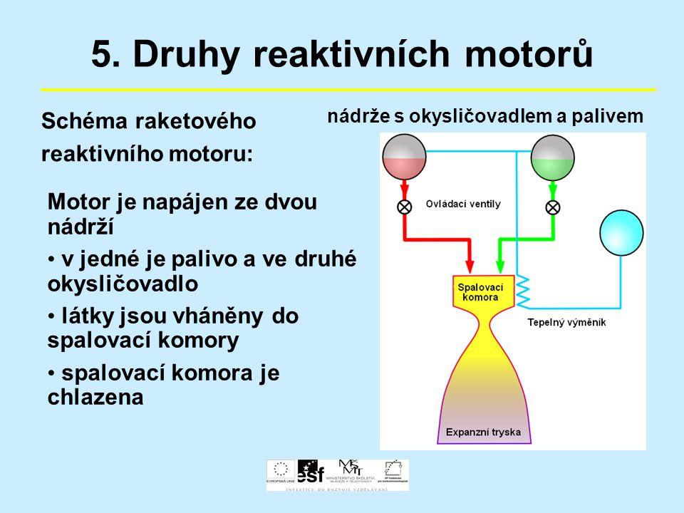 5. Druhy reaktivních motorů Schéma raketového reaktivního motoru: Motor je napájen ze dvou nádrží v jedné je palivo a ve druhé okysličovadlo látky jso