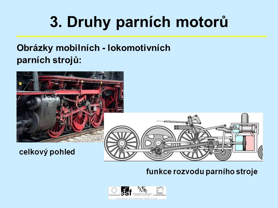 3. Druhy parních motorů Obrázky mobilních - lokomotivních parních strojů: celkový pohled funkce rozvodu parního stroje