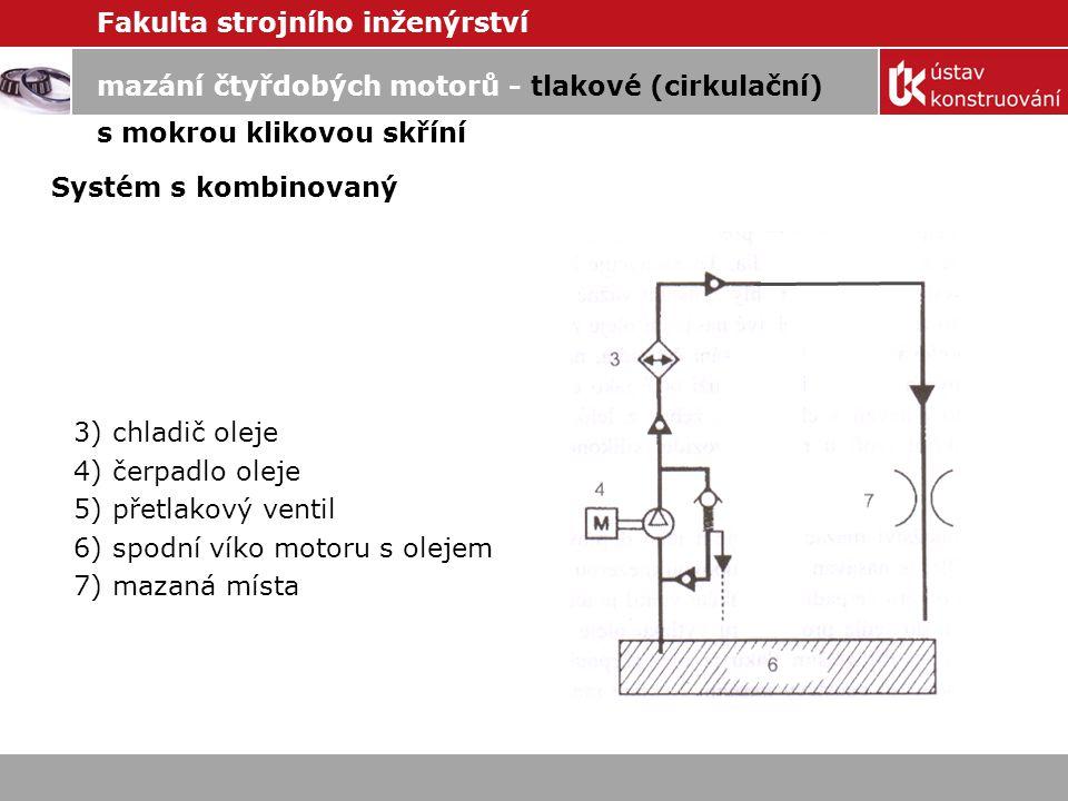 Fakulta strojního inženýrství mazání čtyřdobých motorů - tlakové (cirkulační) s mokrou klikovou skříní Systém s plnoprůtokovým čističem oleje.