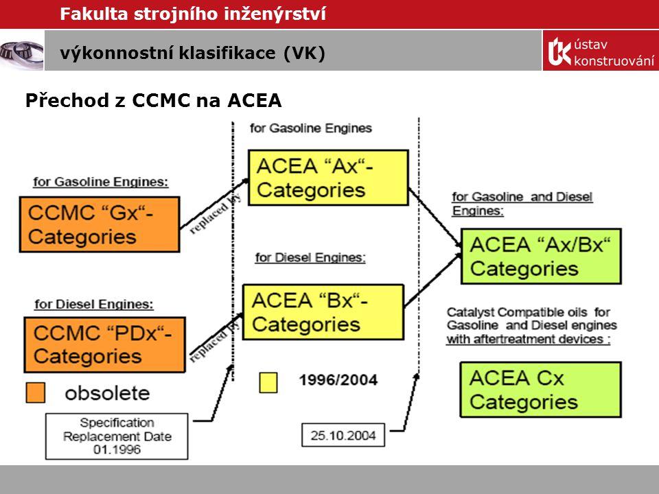 Fakulta strojního inženýrství výkonnostní klasifikace (VK) Výkonnostní klasifikace popisuje vlastnosti motorového oleje při různých typech provozního