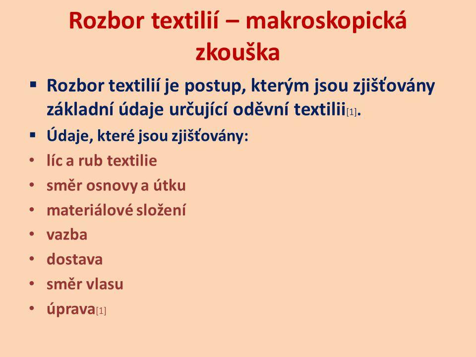Rozbor textilií – makroskopická zkouška  Rozbor textilií je postup, kterým jsou zjišťovány základní údaje určující oděvní textilii [1].  Údaje, kter