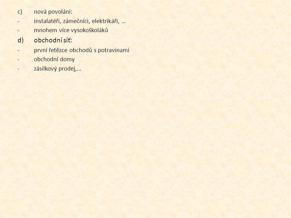 c)nová povolání: -instalatéři, zámečníci, elektrikáři, … -mnohem více vysokoškoláků d)obchodní síť: -první řetězce obchodů s potravinami -obchodní domy -zásilkový prodej,…