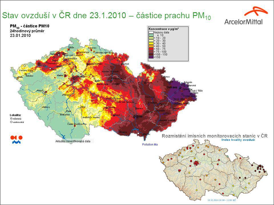 Stav ovzduší v ČR dne 23.1.2010 – částice prachu PM 10 Rozmístění imisních monitorovacích stanic v ČR