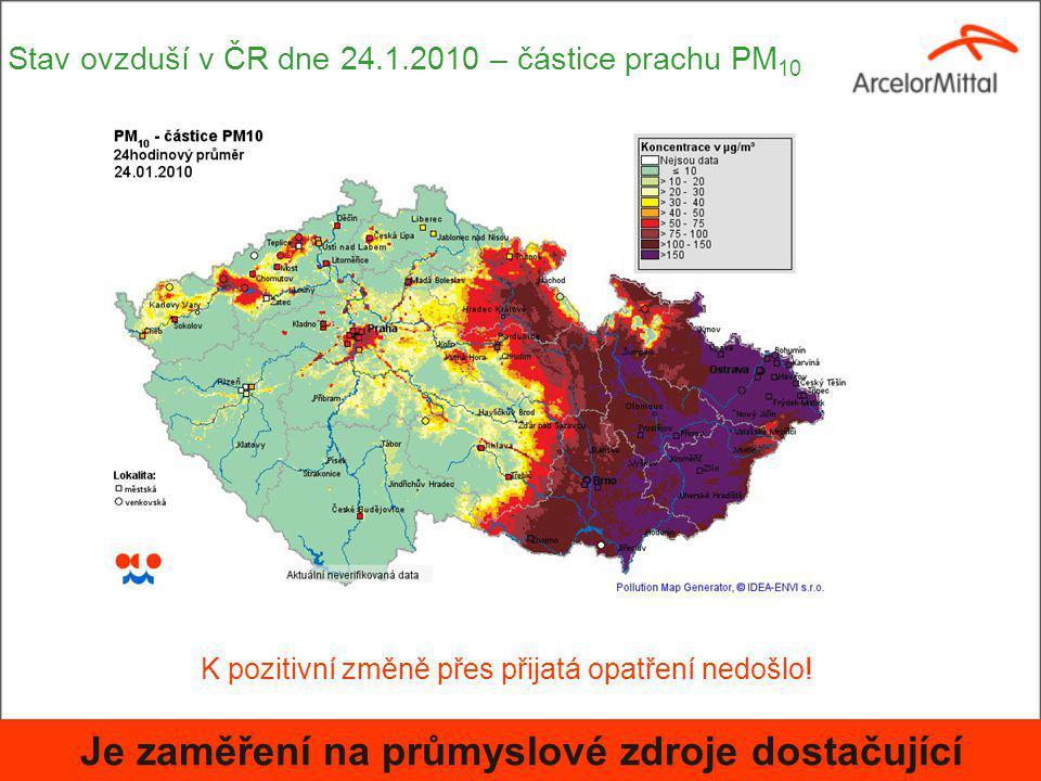 Stav ovzduší v ČR dne 24.1.2010 – částice prachu PM 10 K pozitivní změně přes přijatá opatření nedošlo.