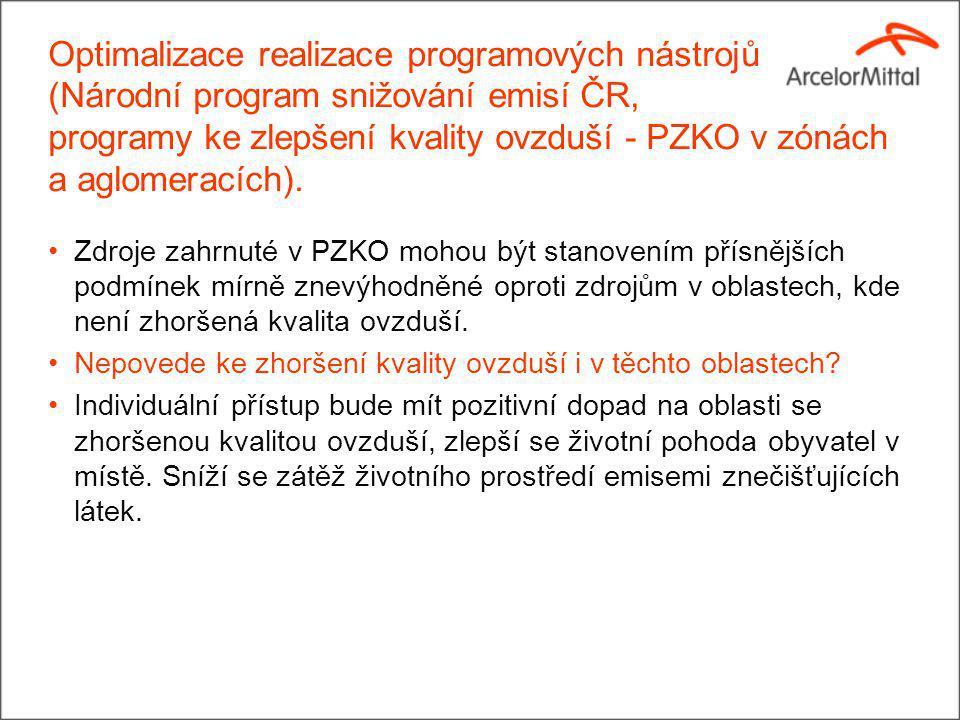 Optimalizace realizace programových nástrojů (Národní program snižování emisí ČR, programy ke zlepšení kvality ovzduší - PZKO v zónách a aglomeracích).
