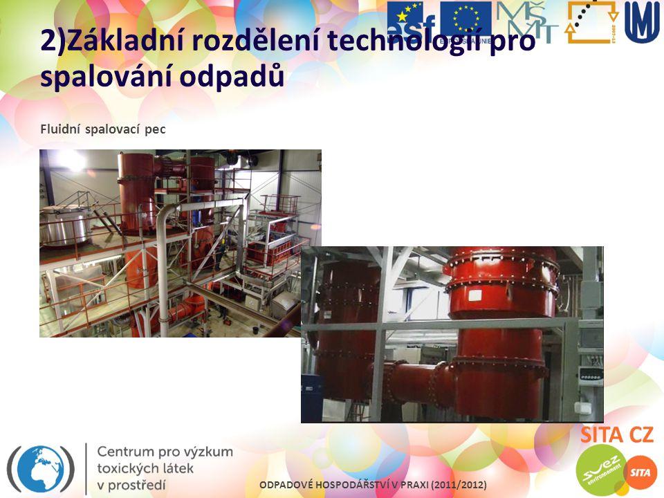 ODPADOVÉ HOSPODÁŘSTVÍ V PRAXI (2011/2012) 2)Základní rozdělení technologií pro spalování odpadů Fluidní spalovací pec