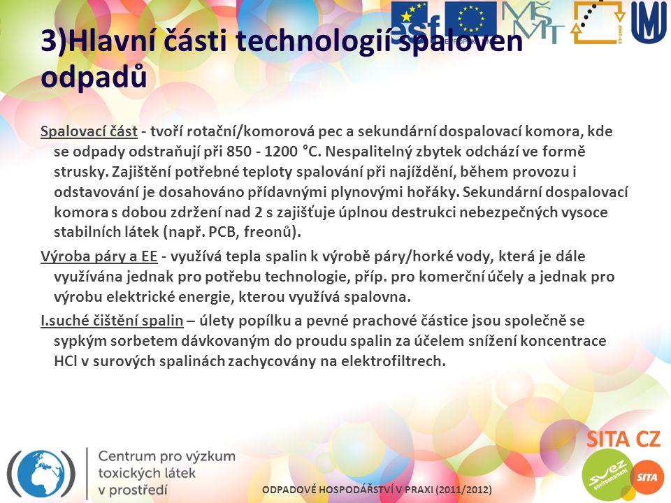 ODPADOVÉ HOSPODÁŘSTVÍ V PRAXI (2011/2012) 3)Hlavní části technologií spaloven odpadů Spalovací část - tvoří rotační/komorová pec a sekundární dospalov