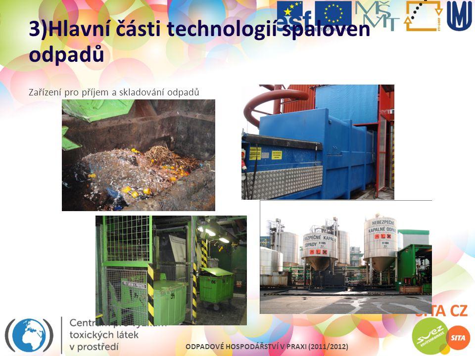 ODPADOVÉ HOSPODÁŘSTVÍ V PRAXI (2011/2012) 3)Hlavní části technologií spaloven odpadů Zařízení pro příjem a skladování odpadů