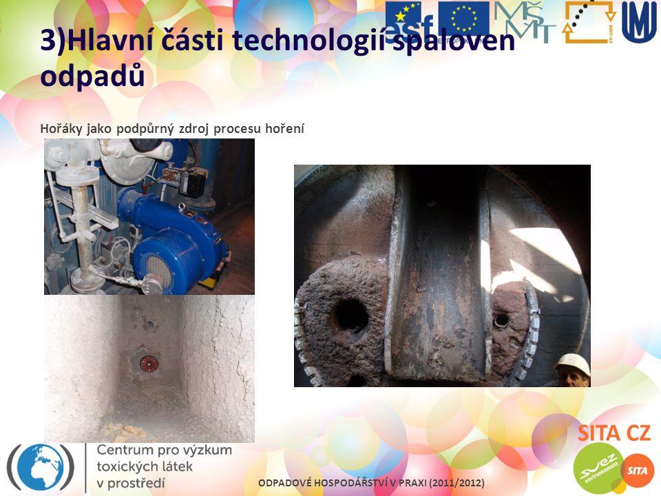 ODPADOVÉ HOSPODÁŘSTVÍ V PRAXI (2011/2012) 3)Hlavní části technologií spaloven odpadů Hořáky jako podpůrný zdroj procesu hoření