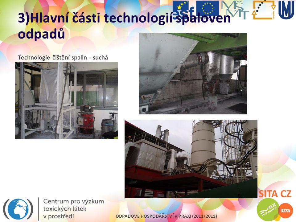 ODPADOVÉ HOSPODÁŘSTVÍ V PRAXI (2011/2012) 3)Hlavní části technologií spaloven odpadů Technologie čištění spalin - suchá