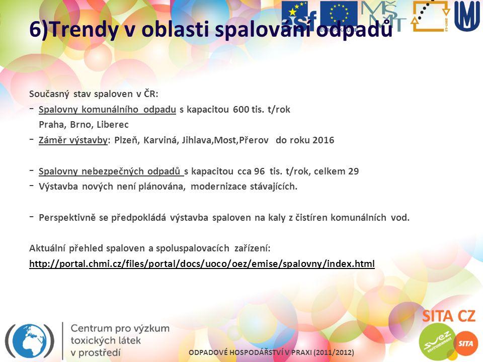 ODPADOVÉ HOSPODÁŘSTVÍ V PRAXI (2011/2012) 6)Trendy v oblasti spalování odpadů Současný stav spaloven v ČR: - Spalovny komunálního odpadu s kapacitou 6