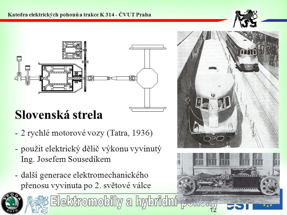 12 Slovenská strela -2 rychlé motorové vozy (Tatra, 1936) -použit elektrický dělič výkonu vyvinutý Ing. Josefem Sousedíkem -další generace elektromech