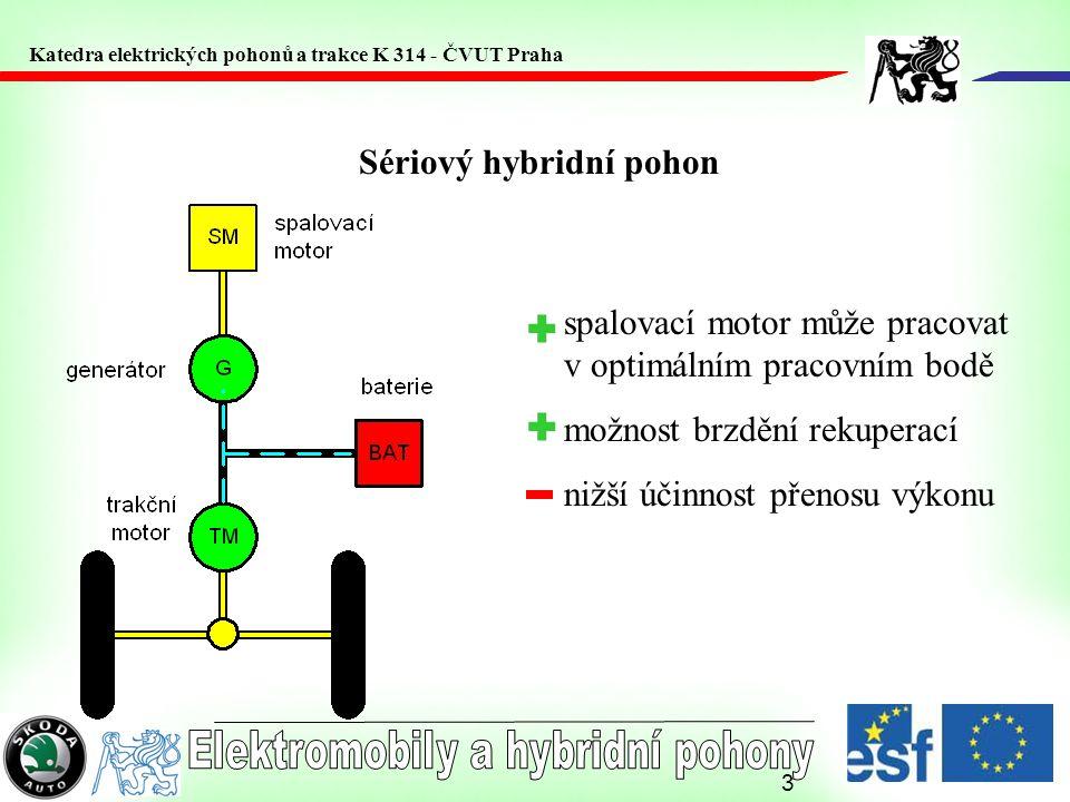 3 Sériový hybridní pohon spalovací motor může pracovat v optimálním pracovním bodě možnost brzdění rekuperací nižší účinnost přenosu výkonu Katedra el