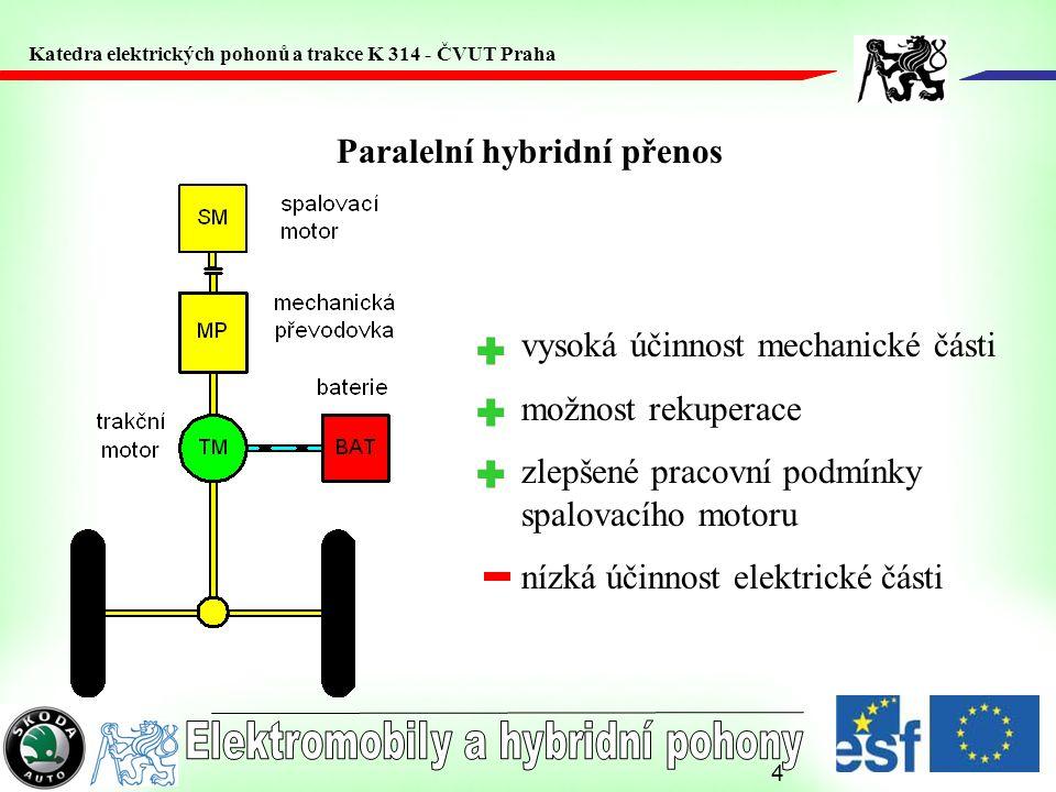 4 Paralelní hybridní přenos vysoká účinnost mechanické části možnost rekuperace zlepšené pracovní podmínky spalovacího motoru nízká účinnost elektrické části Katedra elektrických pohonů a trakce K 314 - ČVUT Praha