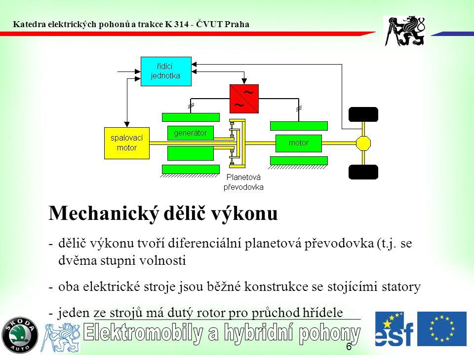 6 Mechanický dělič výkonu -dělič výkonu tvoří diferenciální planetová převodovka (t.j. se dvěma stupni volnosti -oba elektrické stroje jsou běžné kons