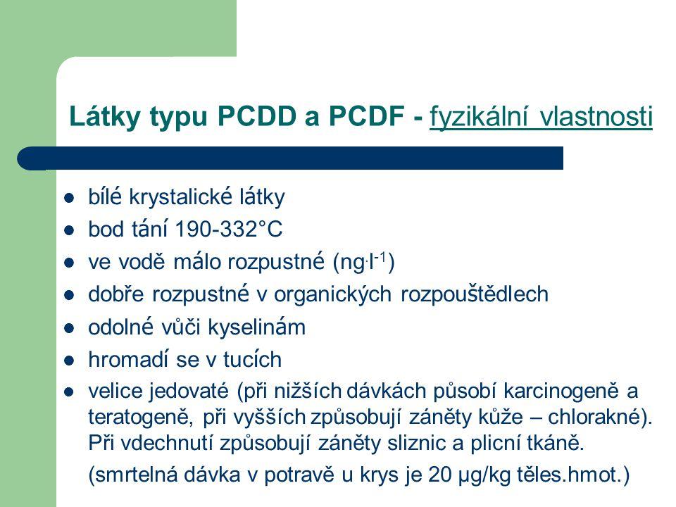 Látky typu PCDD a PCDF - chemické vlastnosti vysoce halogenované polyaromatické sloučeniny 75 isomerů dioxinů a 135 isomerů furanů (nejjedovatější 2,3,7,8,-TCDD (tetrachlordibenzo-p-dioxin) značně chemicky stabilní vysoce termostabilní lipoidní charakter