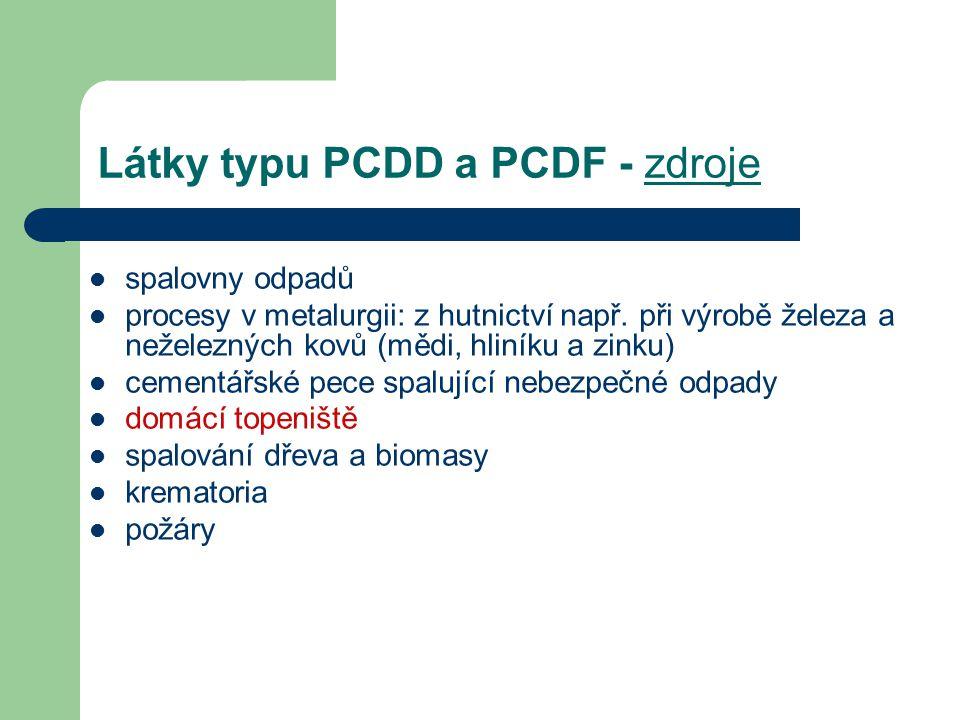 Látky typu PCDD a PCDF - zdroje spalovny odpadů procesy v metalurgii: z hutnictví např. při výrobě železa a neželezných kovů (mědi, hliníku a zinku) c