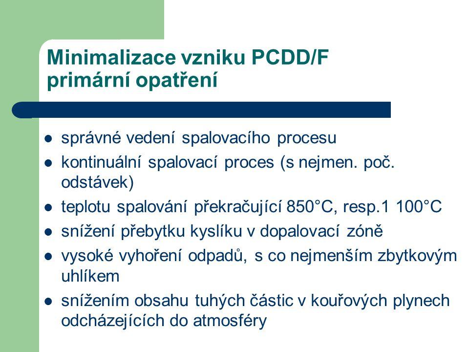 Minimalizace vzniku PCDD/F primární opatření správné vedení spalovacího procesu kontinuální spalovací proces (s nejmen. poč. odstávek) teplotu spalová