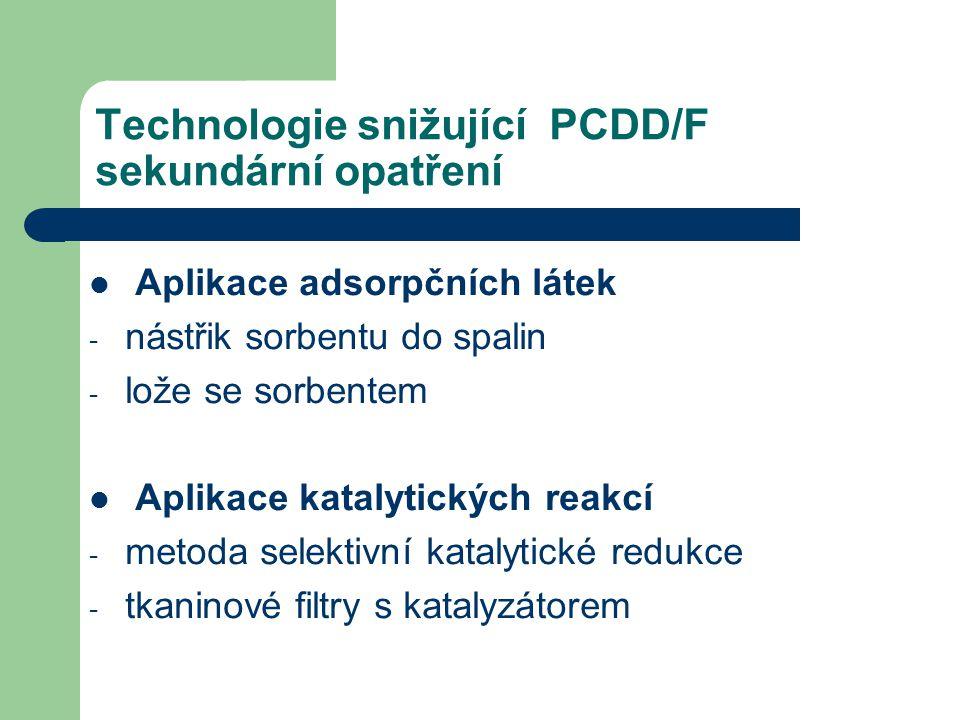 Technologie snižující PCDD/F sekundární opatření Aplikace adsorpčních látek - nástřik sorbentu do spalin - lože se sorbentem Aplikace katalytických re
