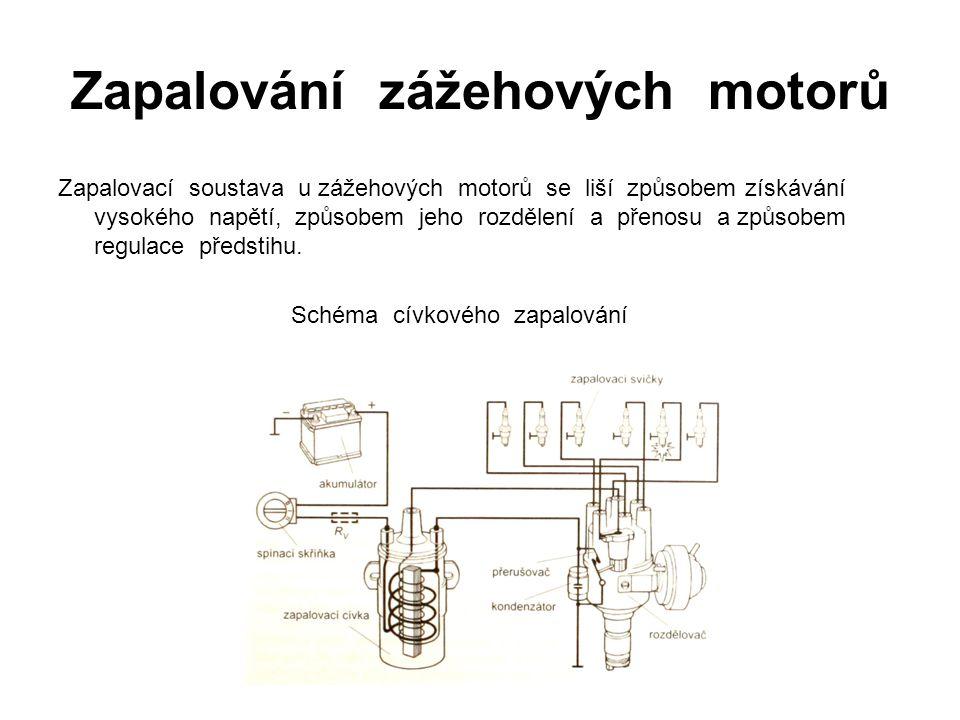 Zapalování zážehových motorů Zapalovací soustava u zážehových motorů se liší způsobem získávání vysokého napětí, způsobem jeho rozdělení a přenosu a způsobem regulace předstihu.