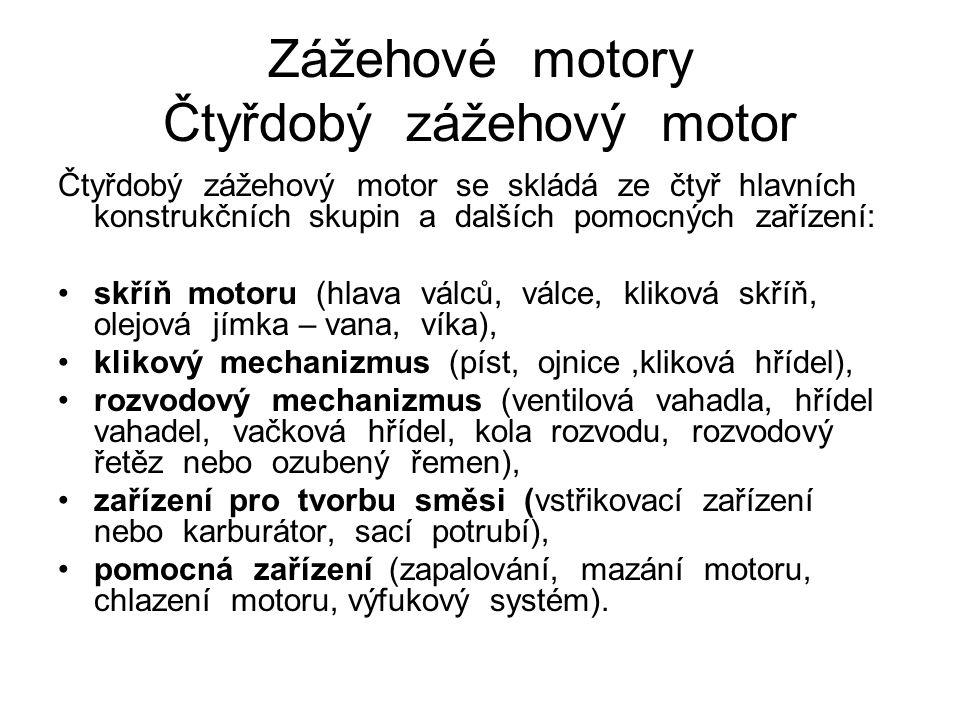 Zážehové motory Čtyřdobý zážehový motor Čtyřdobý zážehový motor se skládá ze čtyř hlavních konstrukčních skupin a dalších pomocných zařízení: skříň motoru (hlava válců, válce, kliková skříň, olejová jímka – vana, víka), klikový mechanizmus (píst, ojnice,kliková hřídel), rozvodový mechanizmus (ventilová vahadla, hřídel vahadel, vačková hřídel, kola rozvodu, rozvodový řetěz nebo ozubený řemen), zařízení pro tvorbu směsi (vstřikovací zařízení nebo karburátor, sací potrubí), pomocná zařízení (zapalování, mazání motoru, chlazení motoru, výfukový systém).
