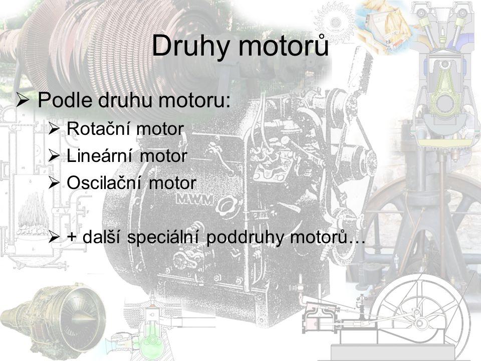 Druhy motorů  Podle zdroje energie  Tepelný motor  Parní stroj  Spalovací motor  Stirlingův motor  Kapalinový motor  Hydrostatický motor  Hydrodynamický motor  Elektromotor  Sériový elektromotor  Derivační elektromotor  Kompaudní elektromotor  Asynchronní elektromotor  Synchronní elektromotor