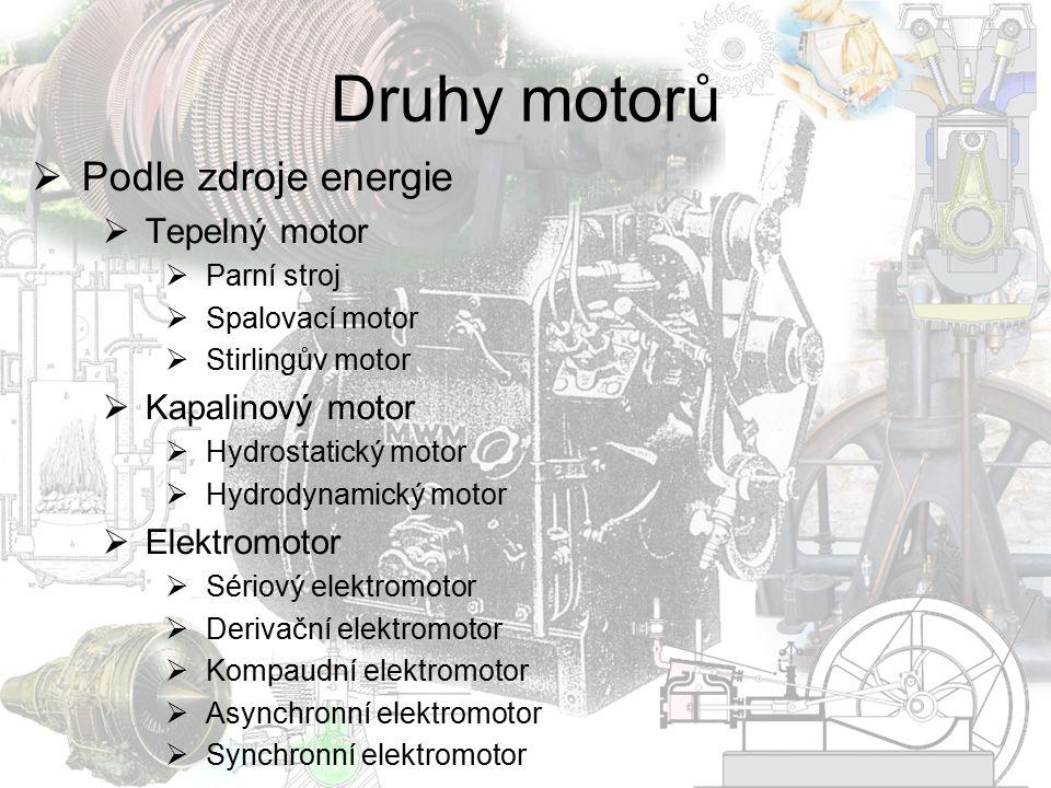 Druhy motorů  Podle zdroje energie  Tepelný motor  Parní stroj  Spalovací motor  Stirlingův motor  Kapalinový motor  Hydrostatický motor  Hydr