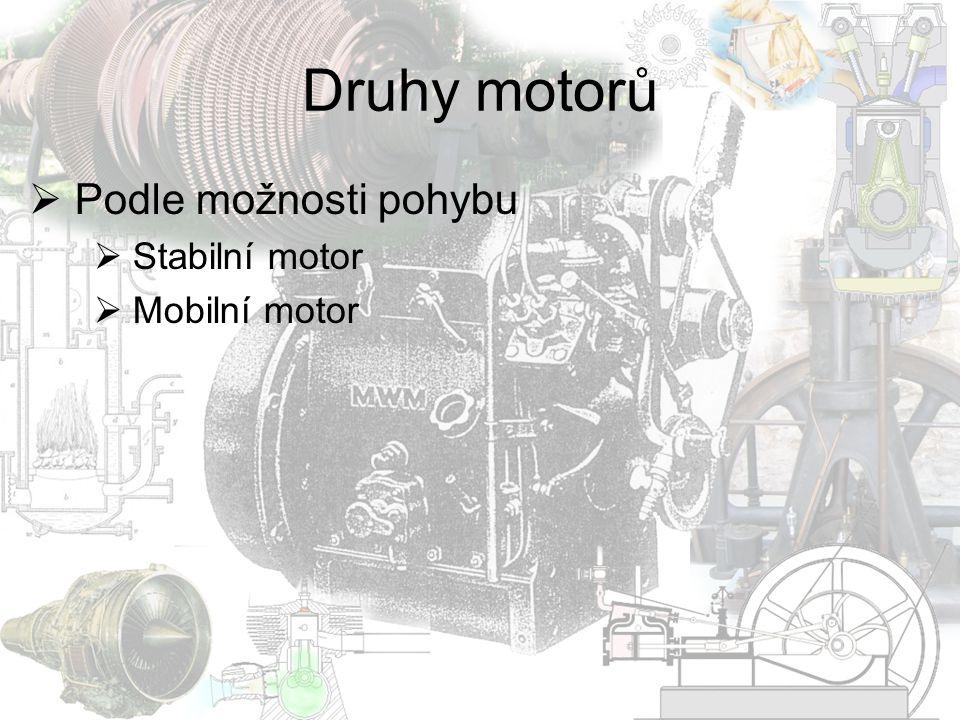 Rotační motor  Celý motor se otáčí  Použití v letectví na začátku 20.