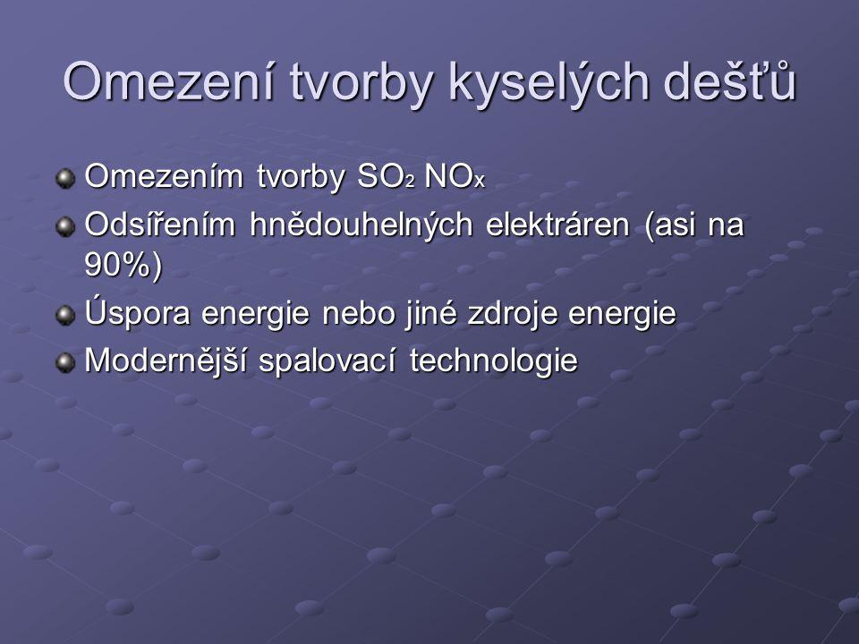 Omezení tvorby kyselých dešťů Omezením tvorby SO 2 NO x Odsířením hnědouhelných elektráren (asi na 90%) Úspora energie nebo jiné zdroje energie Modernější spalovací technologie