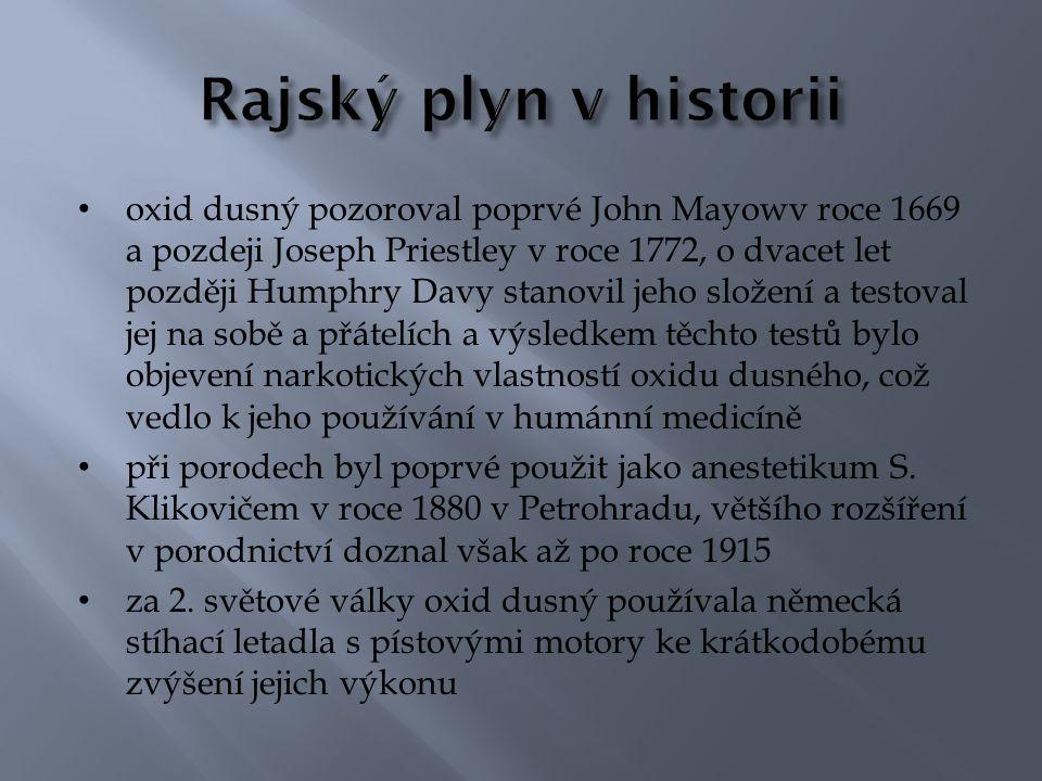 oxid dusný pozoroval poprvé John Mayowv roce 1669 a pozdeji Joseph Priestley v roce 1772, o dvacet let později Humphry Davy stanovil jeho složení a te