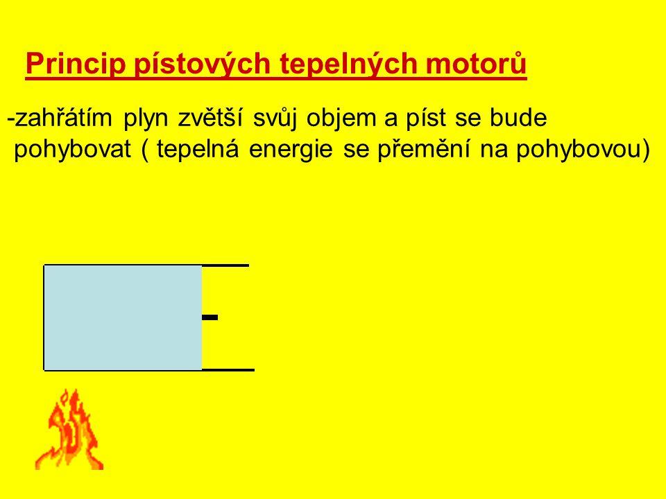 Princip pístových tepelných motorů -zahřátím plyn zvětší svůj objem a píst se bude pohybovat ( tepelná energie se přemění na pohybovou)