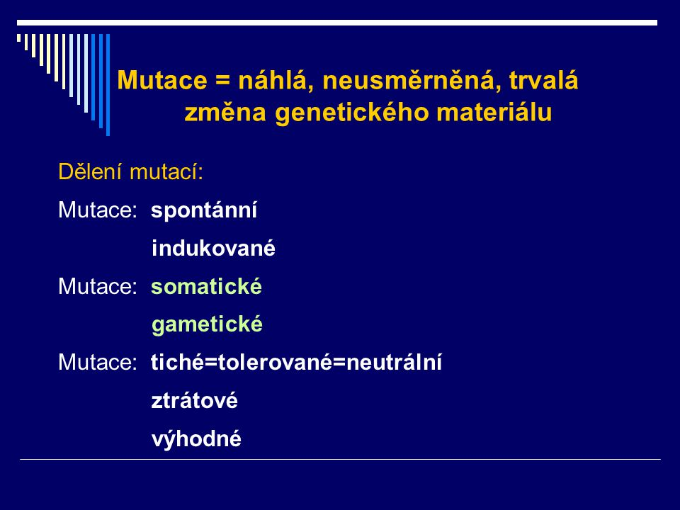 Mutace = náhlá, neusměrněná, trvalá změna genetického materiálu Dělení mutací: Mutace: spontánní indukované Mutace: somatické gametické Mutace: tiché=