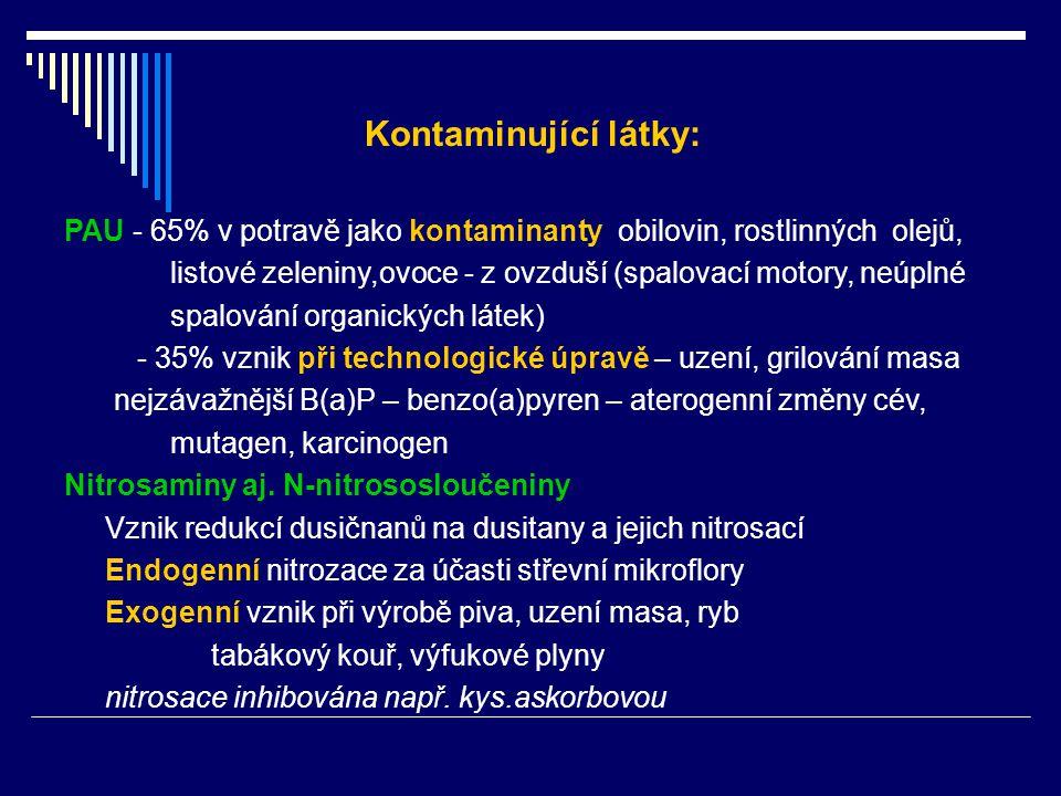 PAU - 65% v potravě jako kontaminanty obilovin, rostlinných olejů, listové zeleniny,ovoce - z ovzduší (spalovací motory, neúplné spalování organických