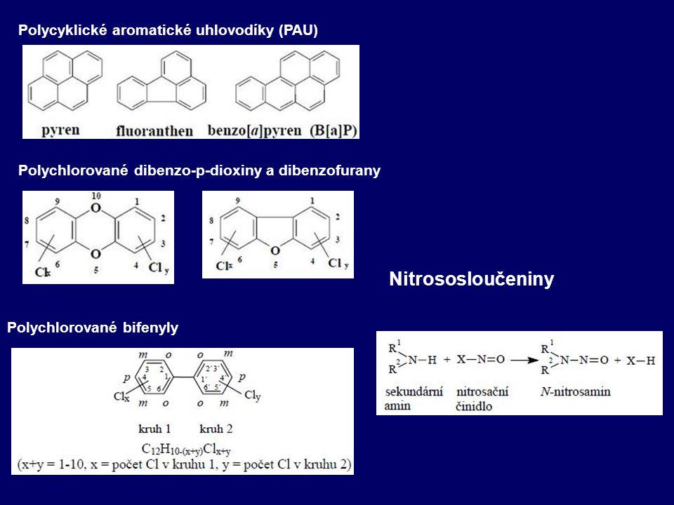 Polycyklické aromatické uhlovodíky (PAU) Polychlorované dibenzo-p-dioxiny a dibenzofurany Polychlorované bifenyly Nitrososloučeniny