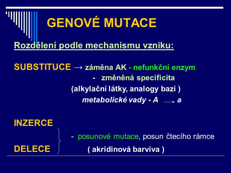 GENOVÉ MUTACE Rozdělení podle mechanismu vzniku: SUBSTITUCE → záměna AK - nefunkční enzym - změněná specificita (alkylační látky, analogy bazí ) metab