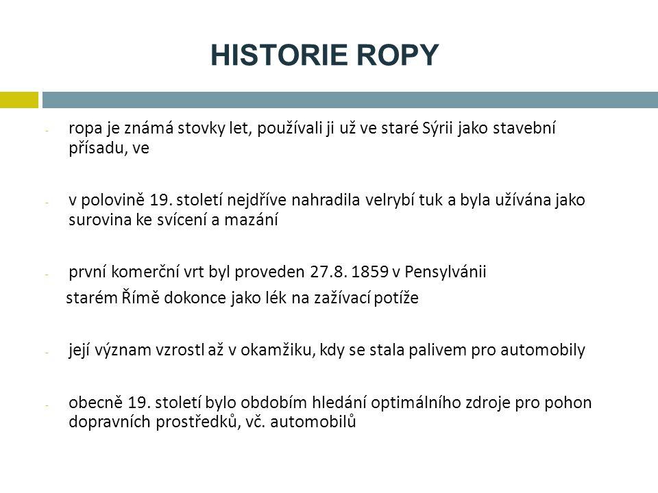 HISTORIE ROPY - ropa je známá stovky let, používali ji už ve staré Sýrii jako stavební přísadu, ve - v polovině 19. století nejdříve nahradila velrybí