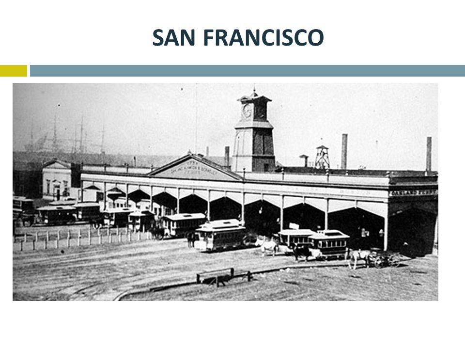 SAN FRANCISCO  Na příkladu San Francisca je dobře vidět náročnost provozu,  V roce 1880 žilo v San Franciscu cca 230 000 obyvatel,  Koněspřežnou do