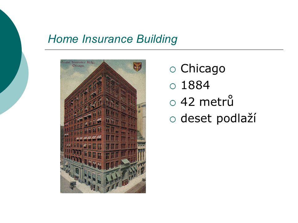 Home Insurance Building  Chicago  1884  42 metrů  deset podlaží