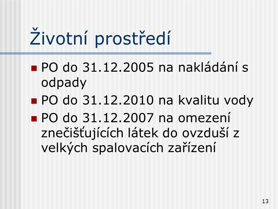 13 Životní prostředí PO do 31.12.2005 na nakládání s odpady PO do 31.12.2010 na kvalitu vody PO do 31.12.2007 na omezení znečišťujících látek do ovzdu